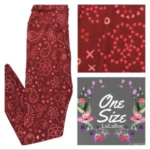 LuLaRoe OS Leggings Valentines Red Pink Hearts NEW